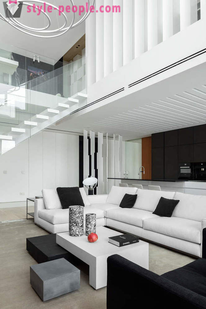 The interior of the two-level penthouse in Moscow