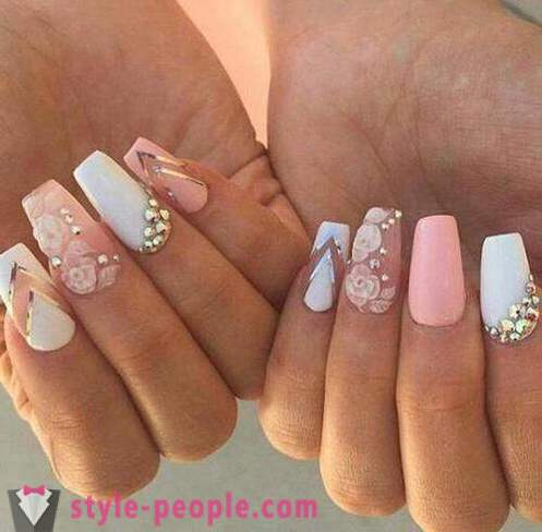 Pink manicure with white: design ideas