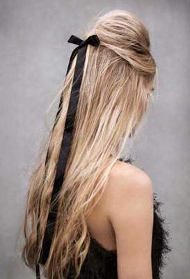 Beautiful hairstyles with ribbons in their hair
