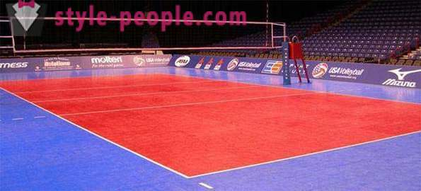 The dimensions of the volleyball court and its marking