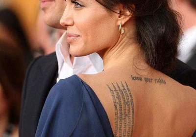 Star tattoos: Angelina Jolie